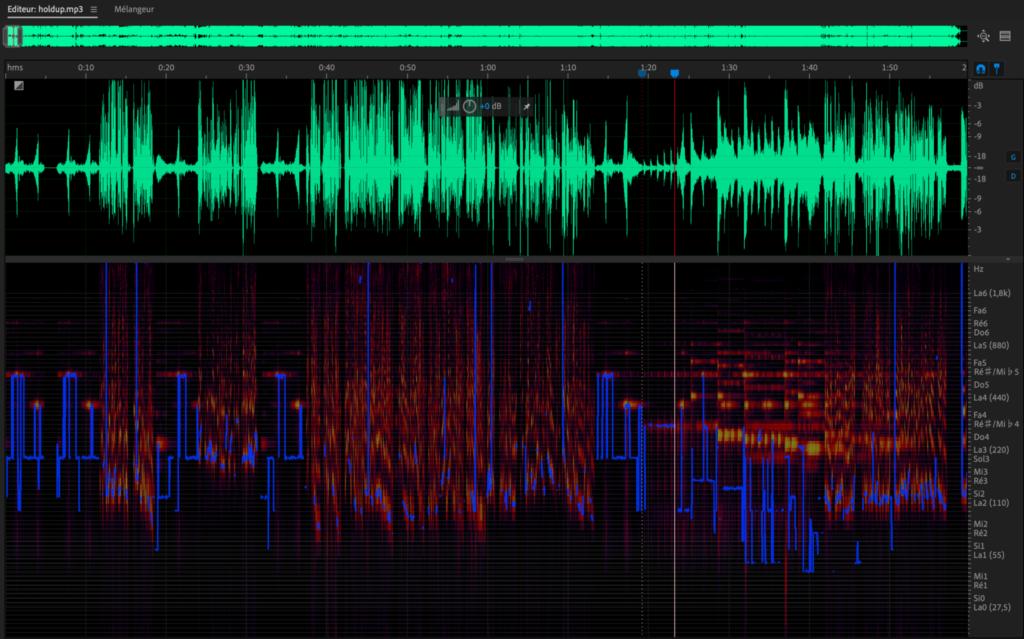 Figure 1: Forme d'onde et hauteur de ton spectrale via Adobe Audition 2020